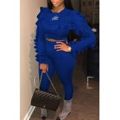 Lovely Sweet Flounce Design Blue Two-piece Pants Set