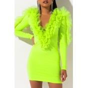 Lovely Casual V Neck Patchwork Green Mini Dress