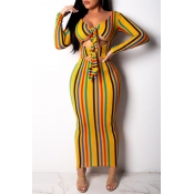 Lovely Trendy Striped Hollow-out Ankle Length Dres