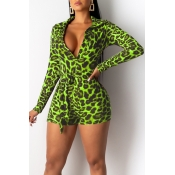 Lovely Casual Deep V Neck Leopard Printed Green One-piece Romper