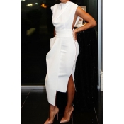 Lovely Party Tank Sleeveless White Ankle Length Prom Dress