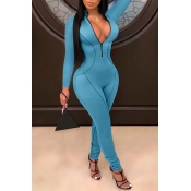 Lovely Casual Zipper Design Blue One-piece Jumpsui