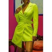 Lovely Work Asymmetrical Green Blazer(With Belt)