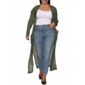 Lovely Casual Pocket Patched Army Green Plus Size