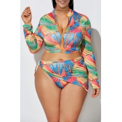 Lovely Printed Zipper Design Jacinth Plus Size Two-piece Swimwear