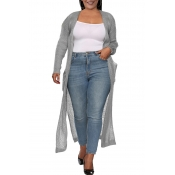 Lovely Casual Pocket Patched Grey Plus Size Coat