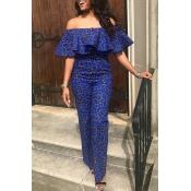 Lovely Temperament Flounce Design Blue One-piece J