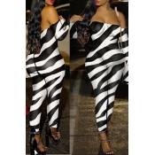 Lovely Sexy Zebra Stripe One-piece Jumpsuit