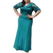 Lovely Temperament V Neck Green Ankle Length Plus