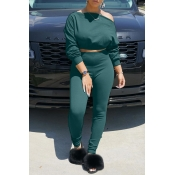 Lovely Chic Off The Shoulder Basic Blackish Green Two-piece Pants Set