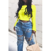 Lovely Casual Dew Shoulder Yellow Blouse