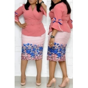 Lovely Casual V Neck Printed Pink Plus Size Two-pi