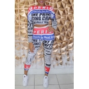 Lovely Street Letter Printed Multicolor Two-piece