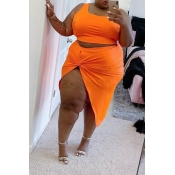 Lovely Casual Sleeveless Asymmetrical Orange Plus