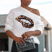 Lovely Casual Printed White Hoodie