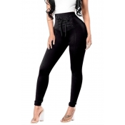 Lovely Trendy Bandage Design Black Pants