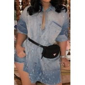 Lovely Casual Gradual Change Baby Blue Mini Dress