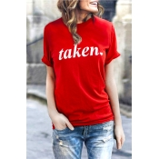Lovely Casual Round Neck Letters Printed Red Cotto
