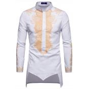 Lovely Casual Turndown Collar Printed Asymmetrical White Shirt