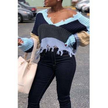 Lovely Casual Tassel Design Color-lump Grey Sweaters