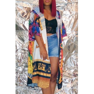Lovely Casual Hooded Collar Printed Multicolor Coat