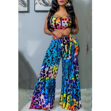Lovely Chic Spaghetti Straps Loose Multicolor Two-piece Pants Set