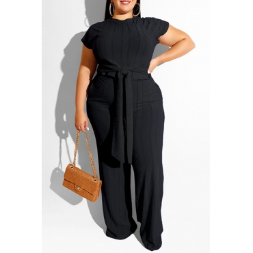 Lovely Casual Knot Design Black Plus Size Two-piece Pants Set