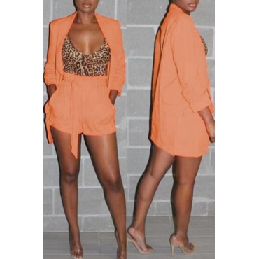 Lovely Casual Long Sleeves Croci Two-piece Shorts Set