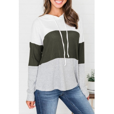 Lovely Trendy Hooded Collar Drawstring Army Green Sweaters