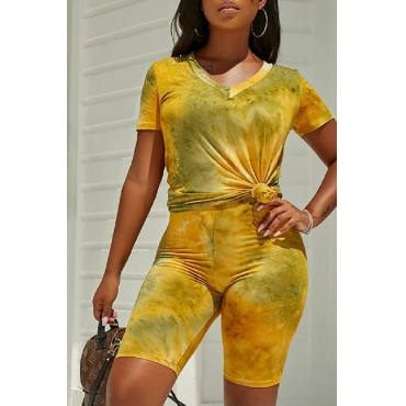 Lovely Casual V Neck Golden Yellow Two-piece Shorts Set