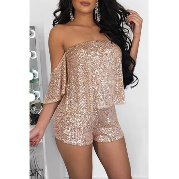 Lovely Sweet Off The Shoulder Gold Two-piece Shorts Set