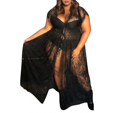 Lovely Sexy V Neck See-through Black Floor Length Plus Size Dress