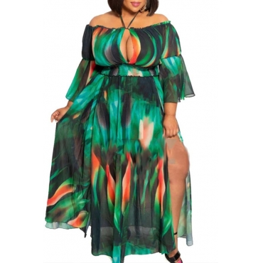 Lovely Casual Slit Hollow-out Green Floor Length Plus Size Dress