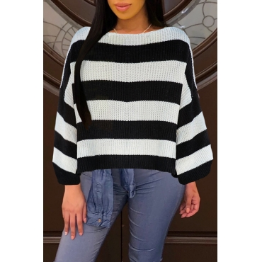 Lovely Leisure Striped Black Sweaters