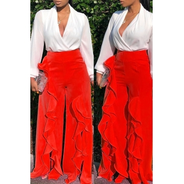 Lovely Casual Flounce Design Red Pants
