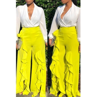 Lovely Casual Flounce Design Yellow Pants