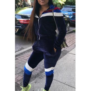 Lovely Sportswear Patchwork Deep Blue Two-piece Pants Set