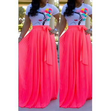 Lovely Casual Ruffle Design Rose Red Skirt