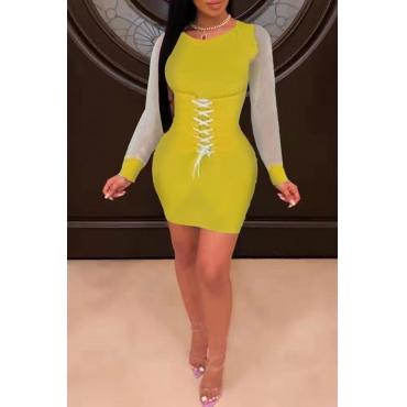 Lovely Casual O Neck Bandage Design Yellow Mini Dress
