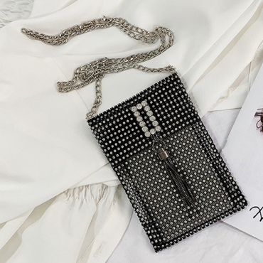 Lovely Casual Rhinestone Decorative Black Messenger Bag