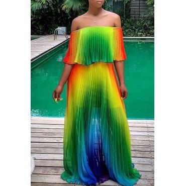 Lovely Trendy Off The Shoulder Gradual Change Printed Green Floor Length Dress
