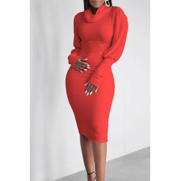 Lovely Casual Turtleneck Ruffle Design Red Knee Length Dress