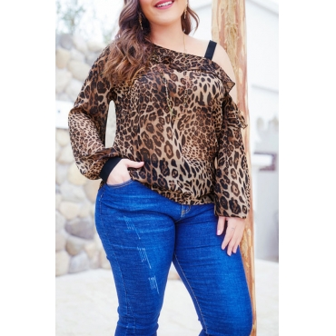 Lovely Casual Leopard Printed Plus Size Blouse