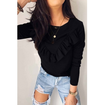 Lovely Casual Flounce Design Black Blouse