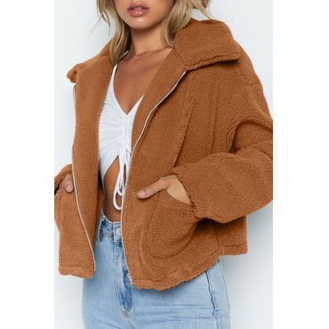 Lovely Casual Turndown Collar Zipper Design Brown Coat