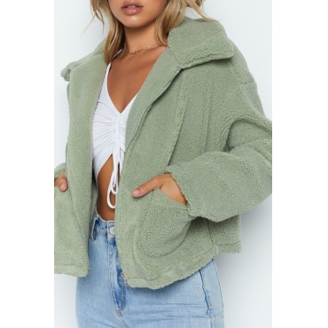 Lovely Casual Turndown Collar Zipper Design Green Coat