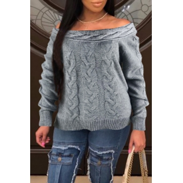 Lovely Casual Dew Shoulder Grey Sweaters