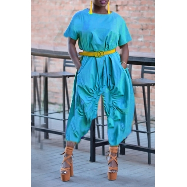 Lovely Casual Loose Blue One-piece Jumpsuit(Without Belt)