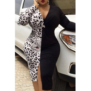 Lovely Leisure Leopard Printed Black Knee Length Plus Size Dress