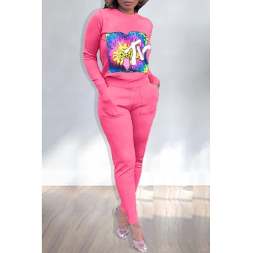 Lovely Casual Printed Pink Two-piece Pants Set